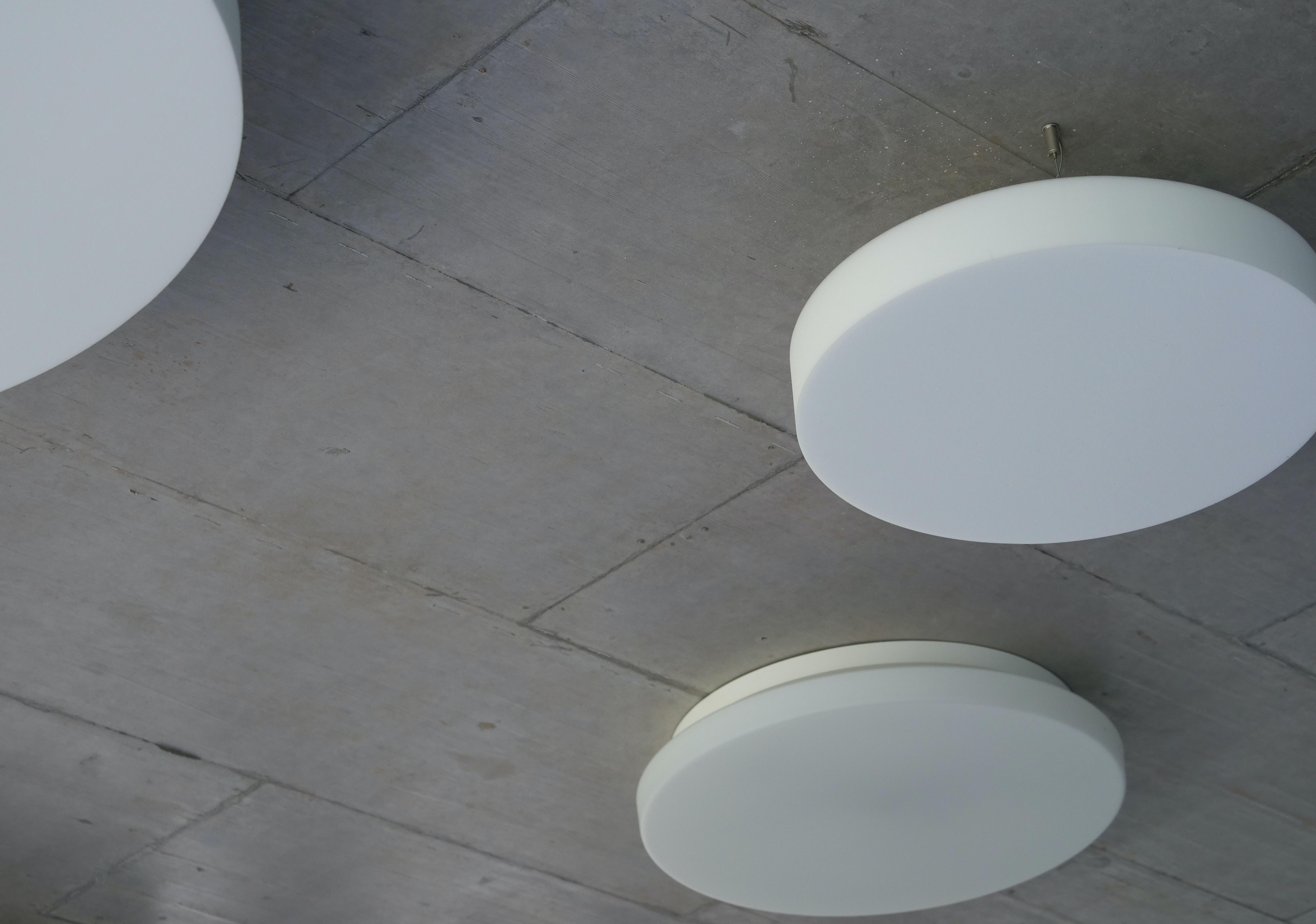 two round white plates on floor