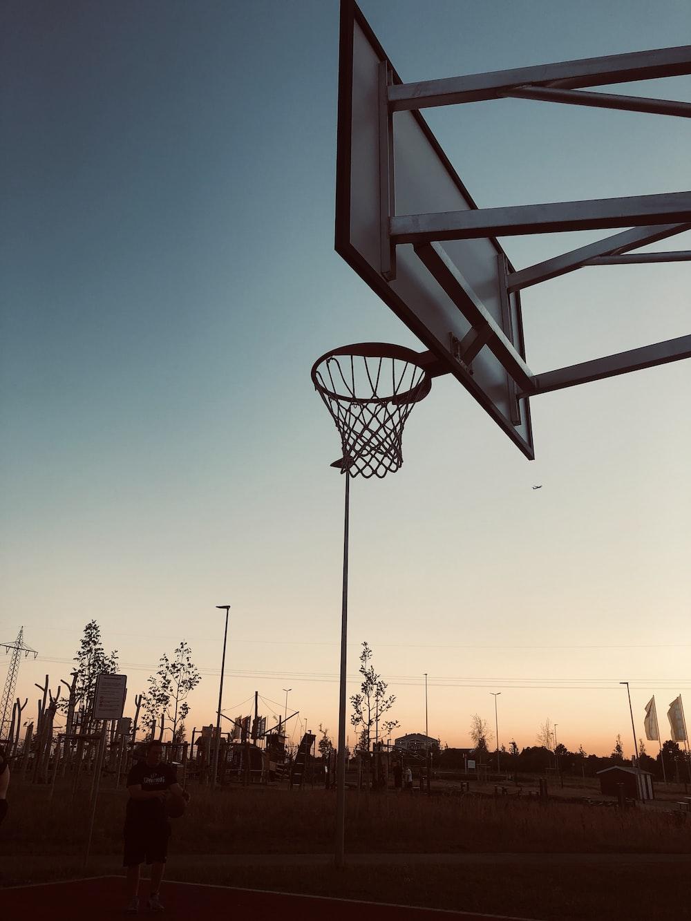 basketball court during sunset