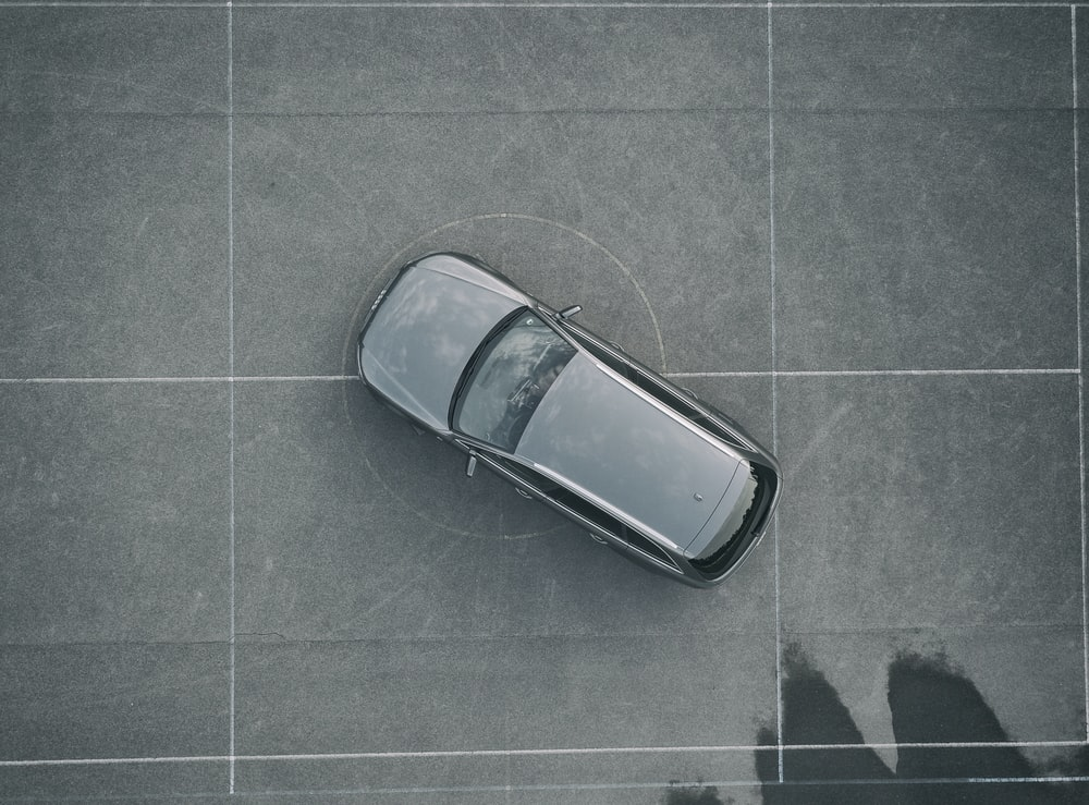 aerial photography of parked gray vehicle