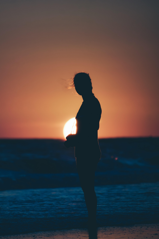 silhouette photo of female