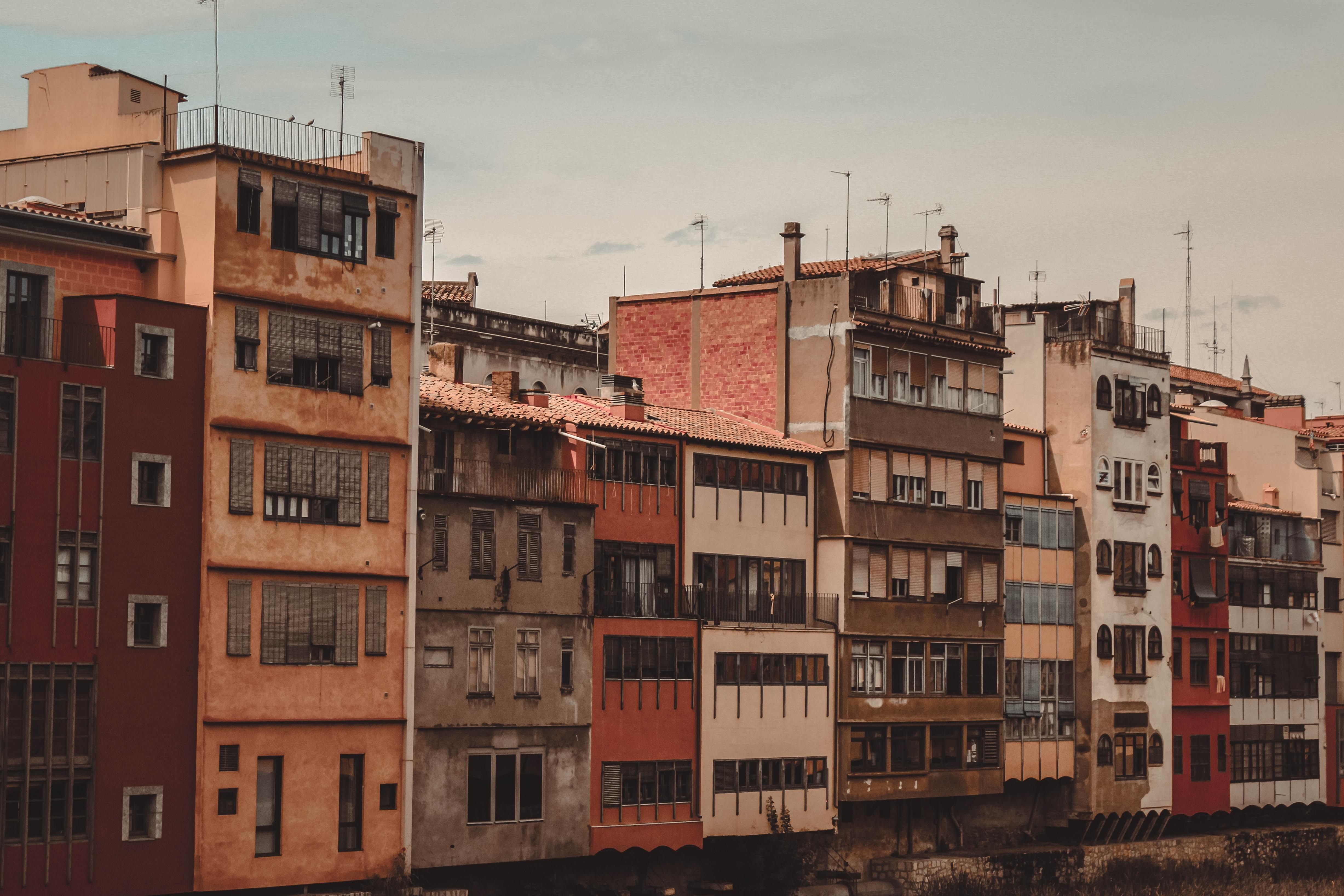 lined up concrete buildings