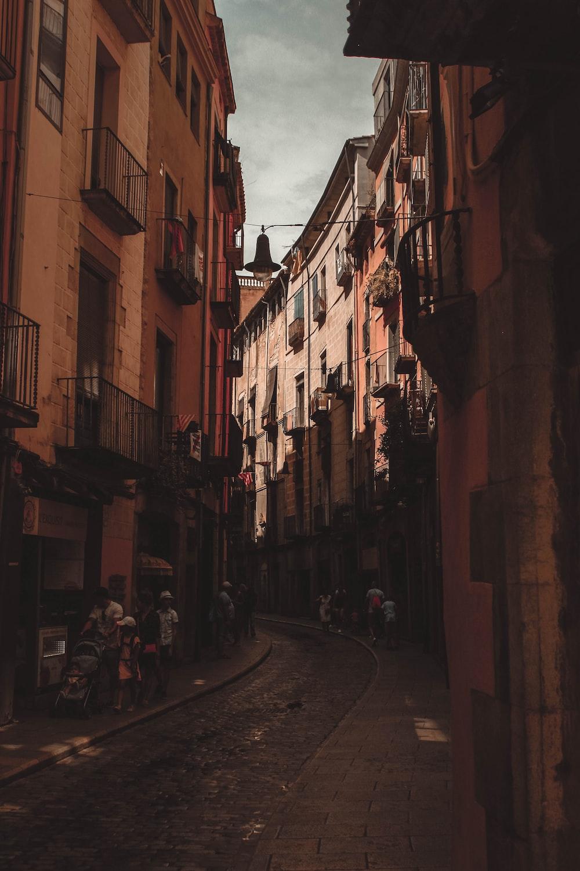people walking street beside brown building