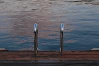 gray pool ladder