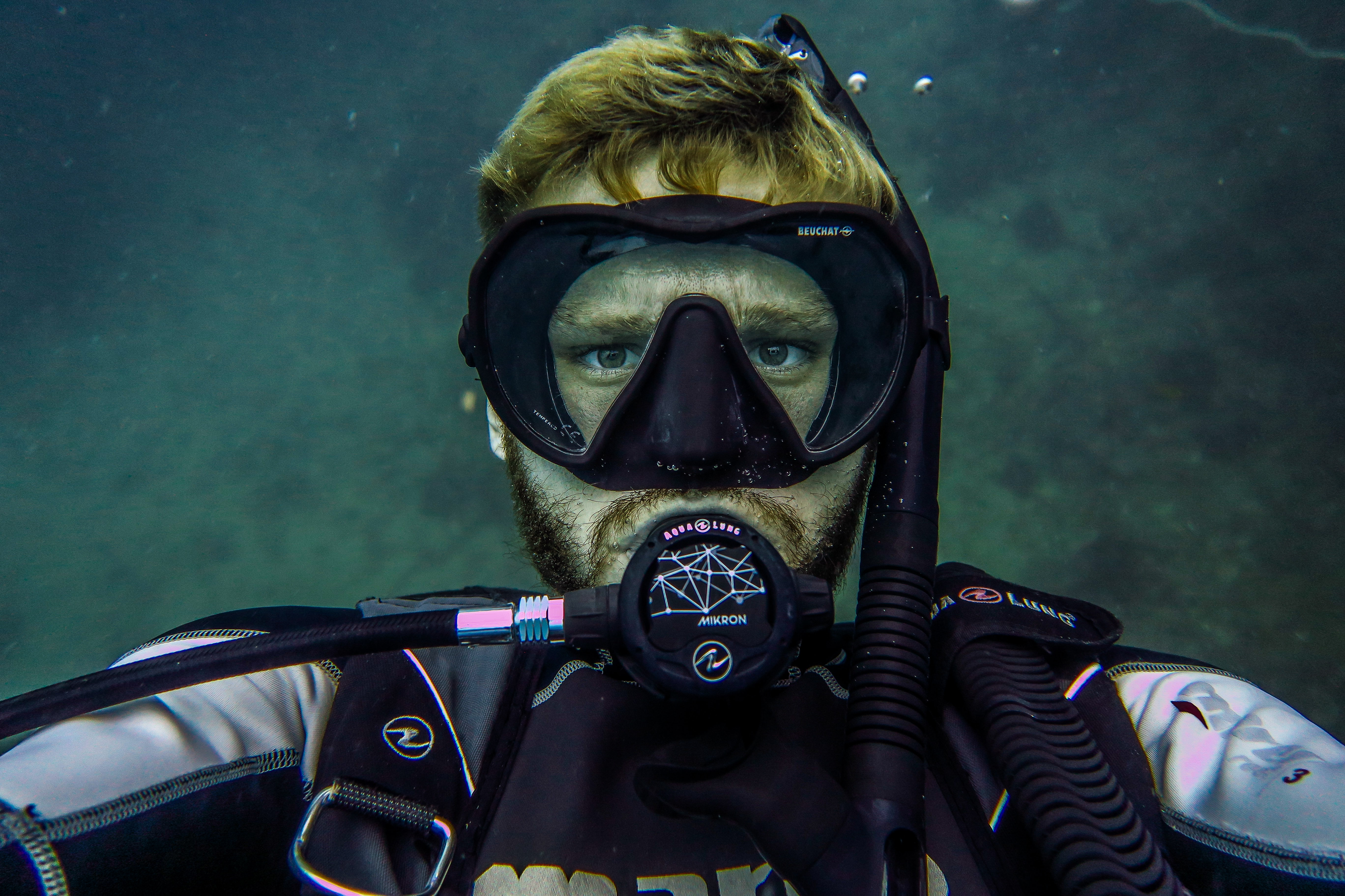 person taking selfie underwater