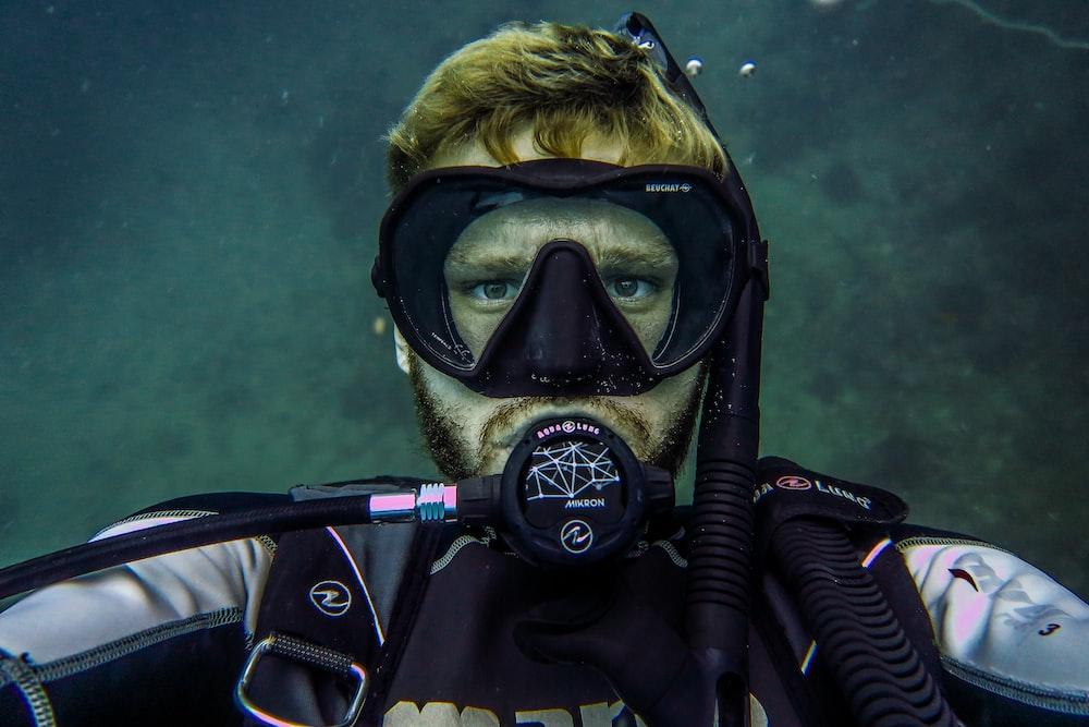 person taking selfie underwater