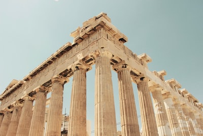 low angle photography of the parthenon, greece greece teams background