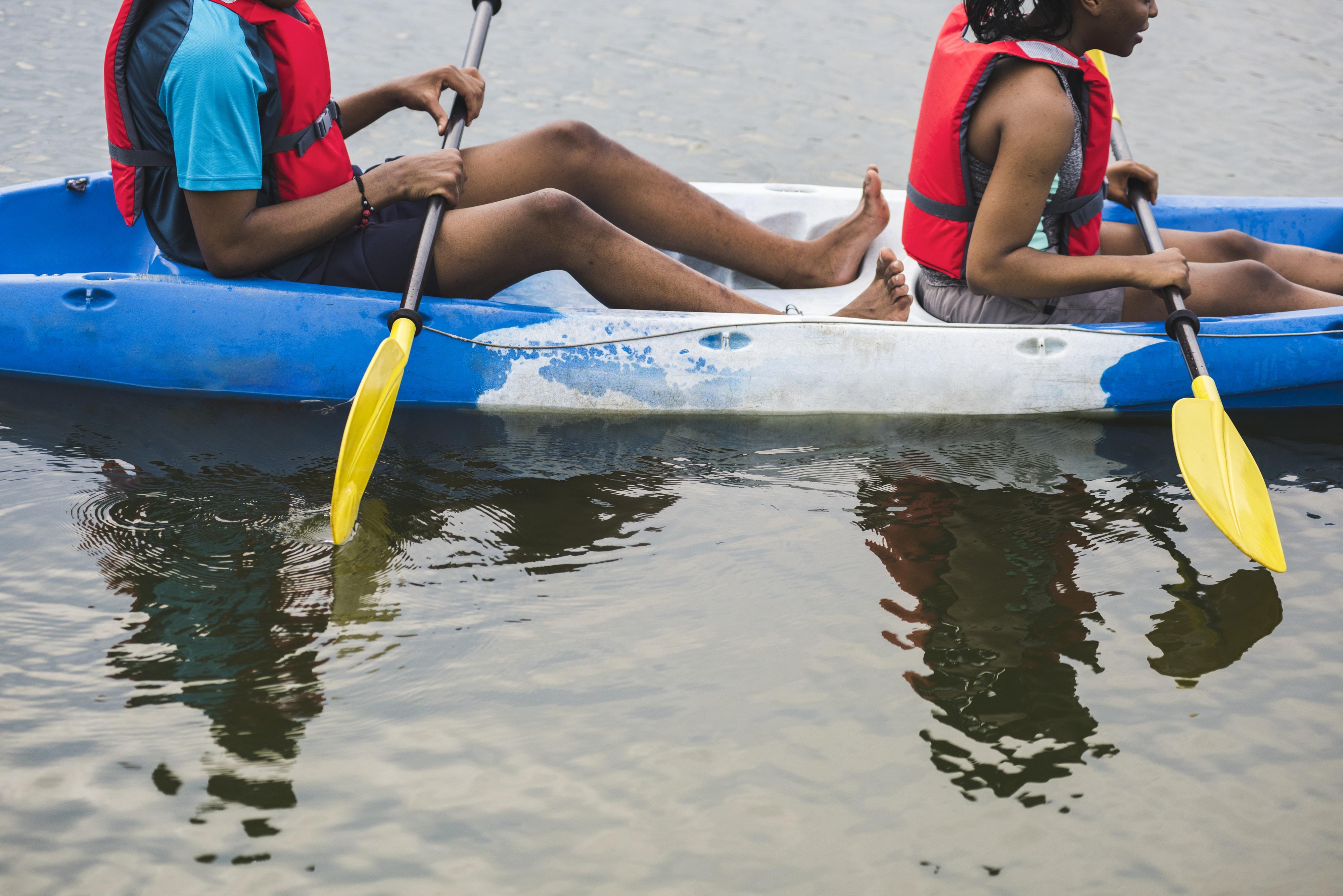 two person sailing kayak