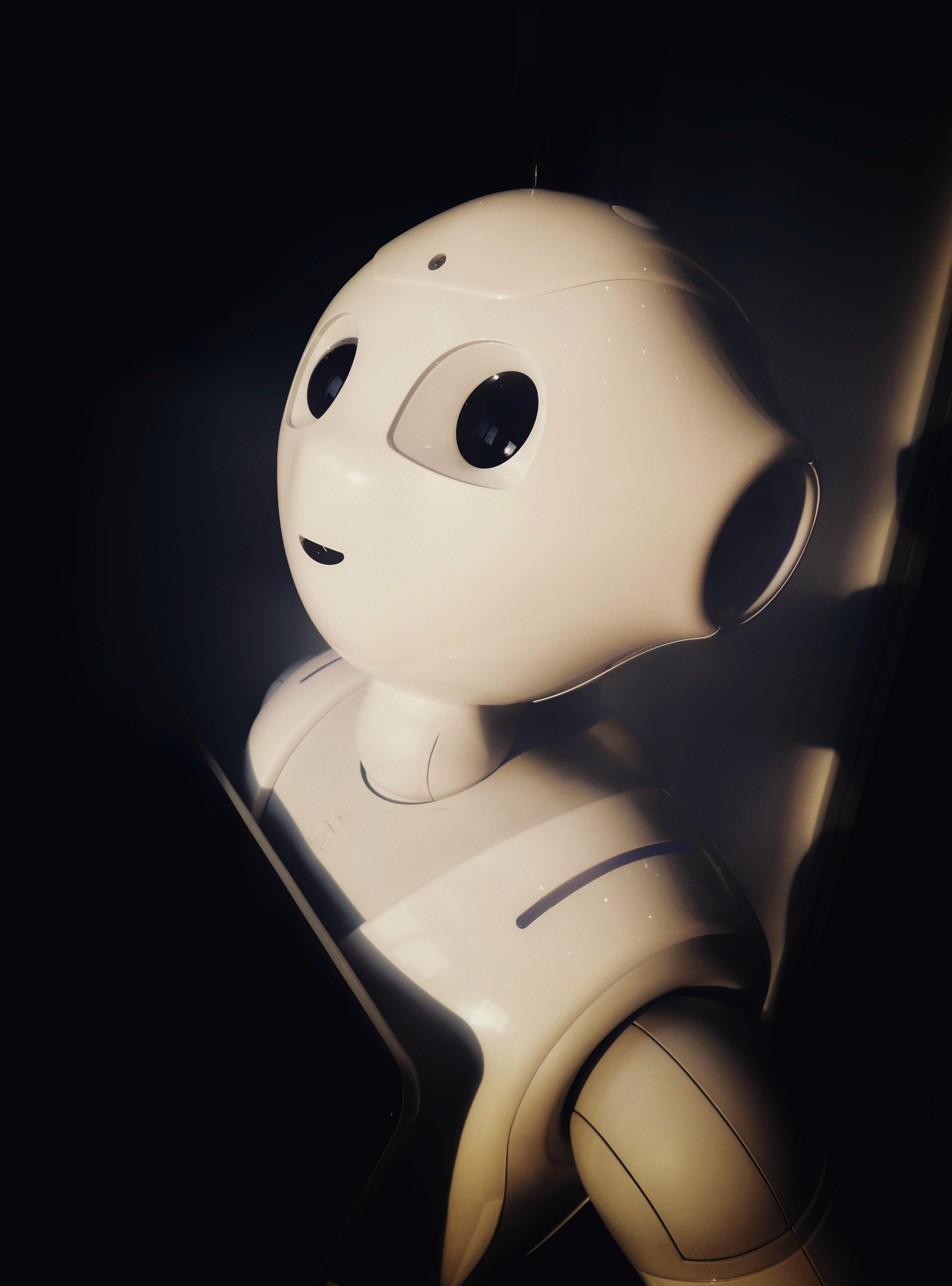 human robot toy near wall