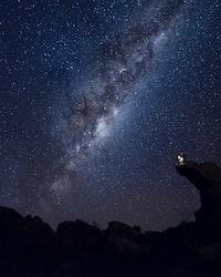 Milky Way Galaxy seen from mountain range