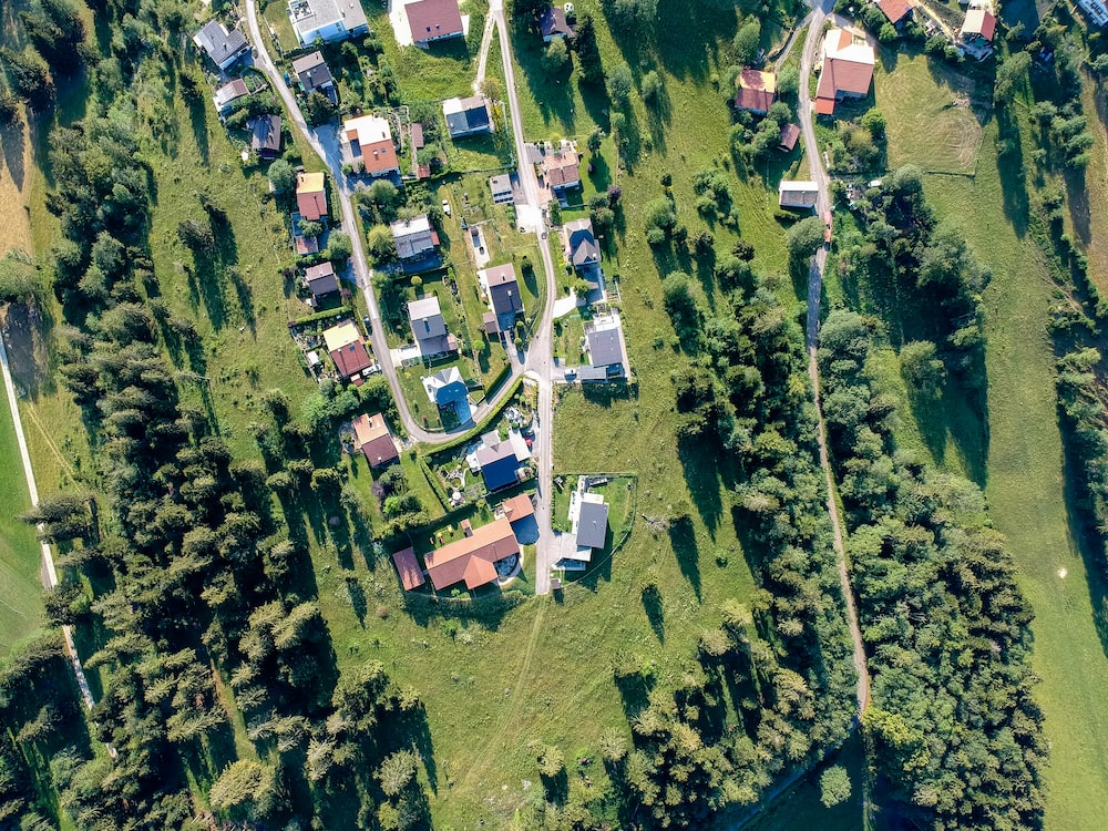 aerial view photography of village