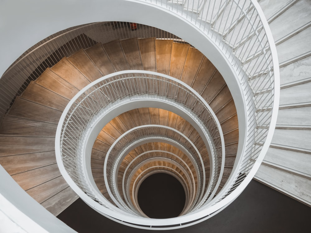 aerial view photography of spiral stair