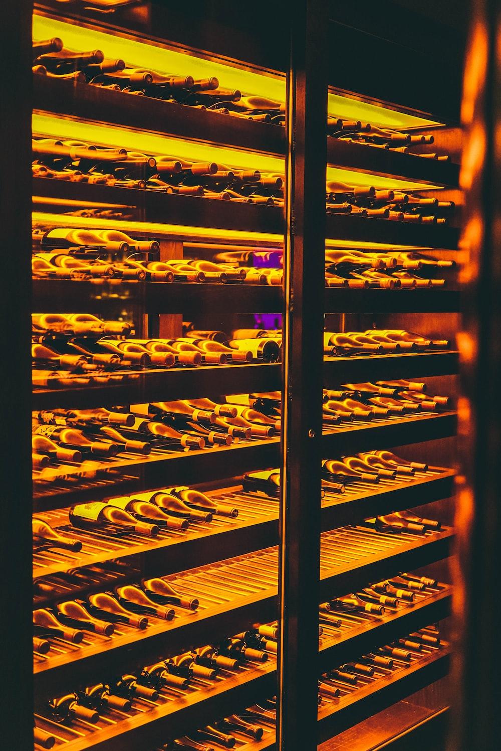 wine bottles in wine chiller