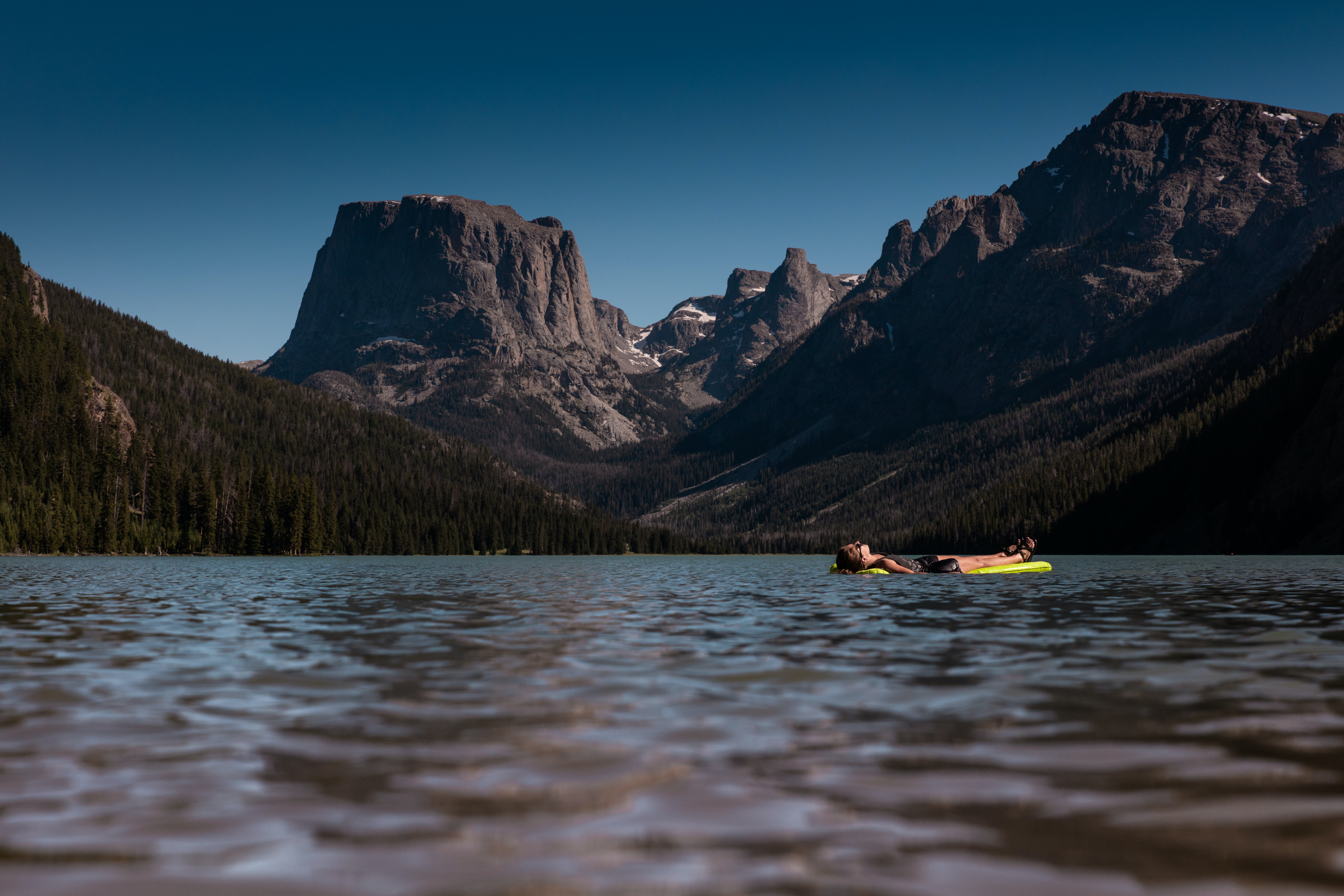 boat with view of rocky mountains