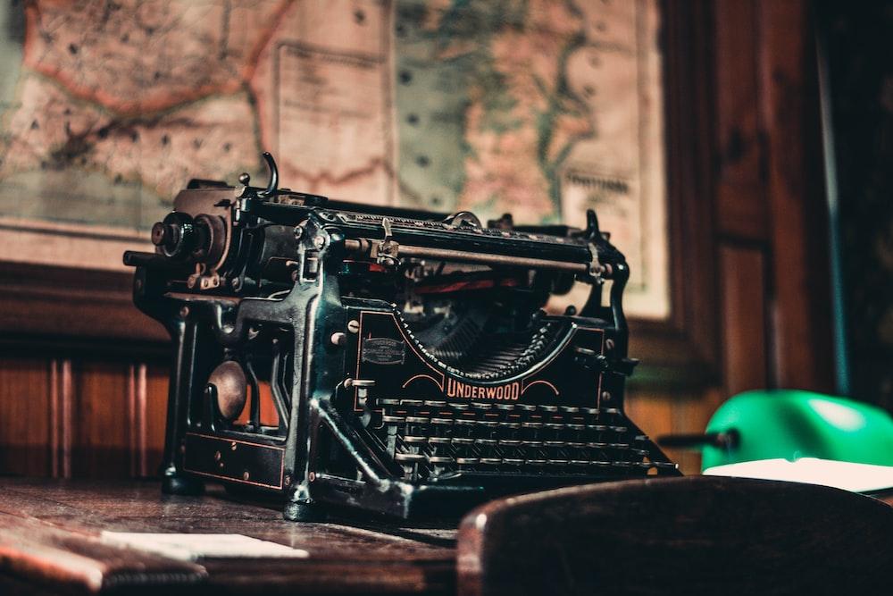black typewriter on table