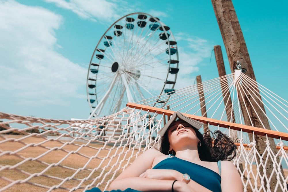 woman sleeping on hammock