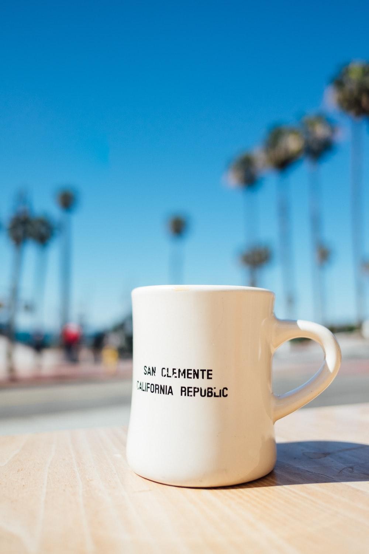 macro shot of white ceramic mug