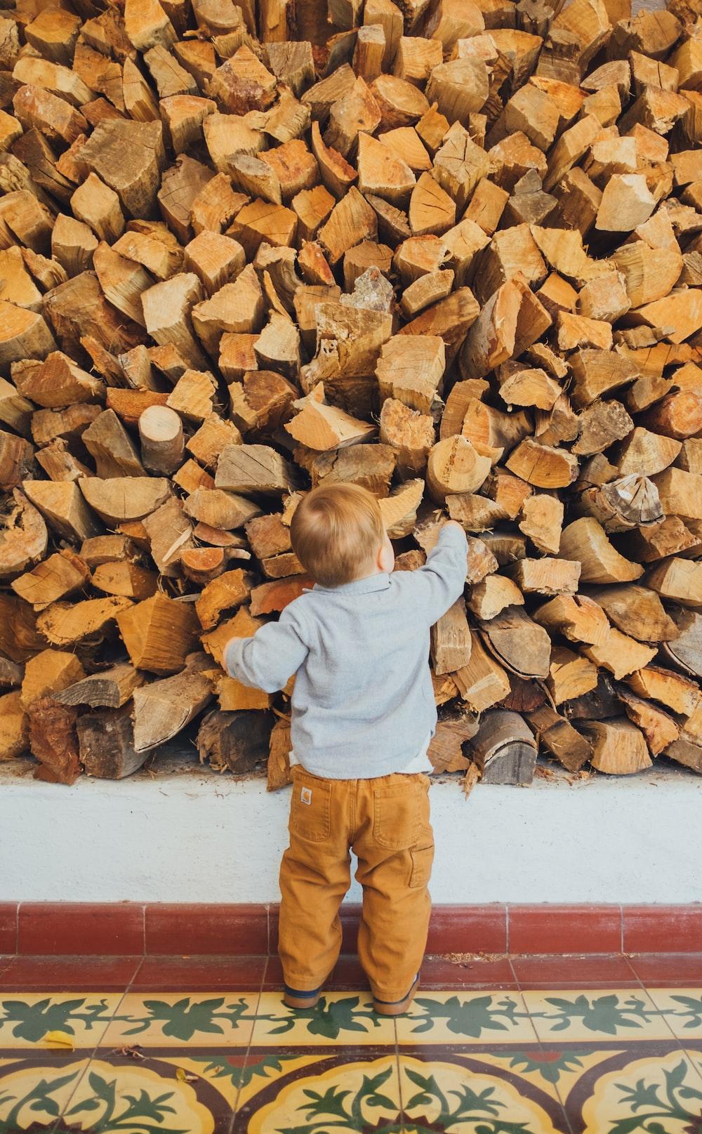 boy holding brown log