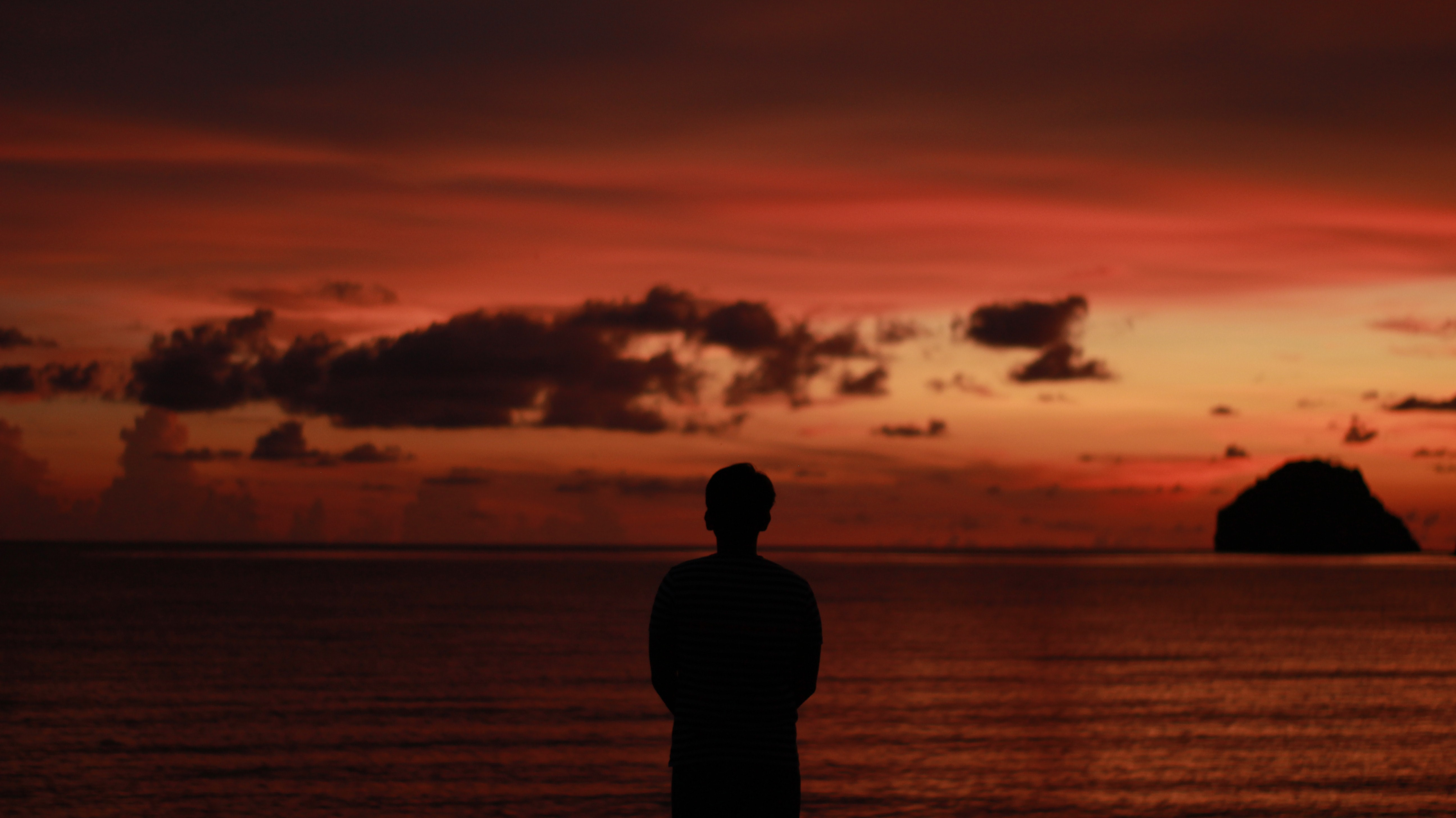 silhouette person staring at the ocean during sunset