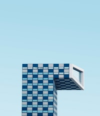 blue and white building