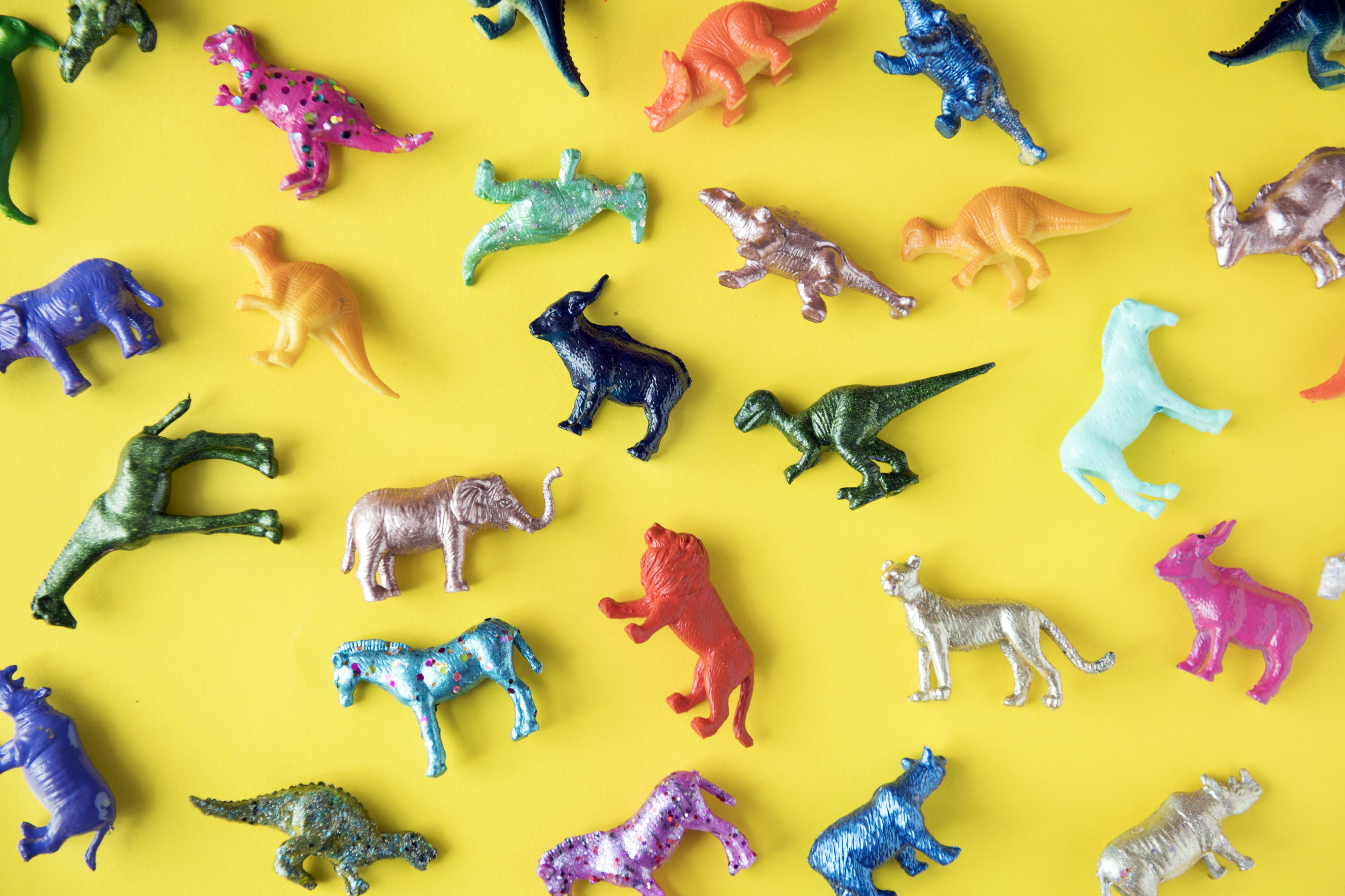 assorted-color animal toy lot