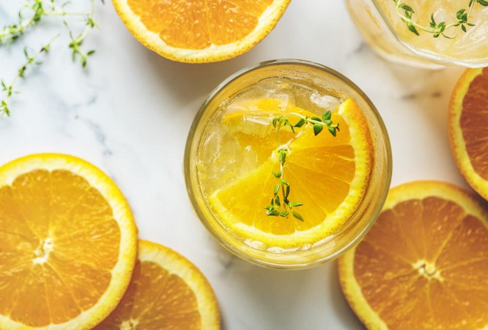 orange fruit slices on cup