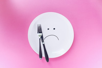 silver fork and knife on plate plate zoom background
