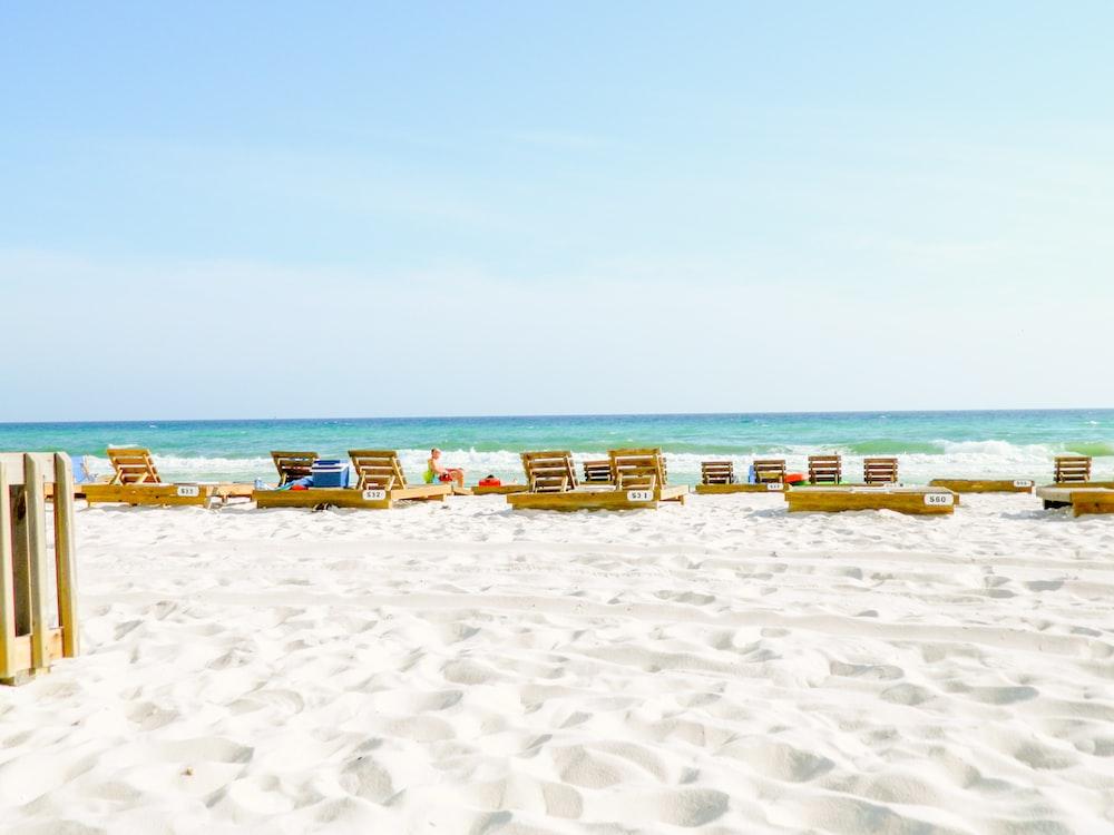 sun lounger on beach shore
