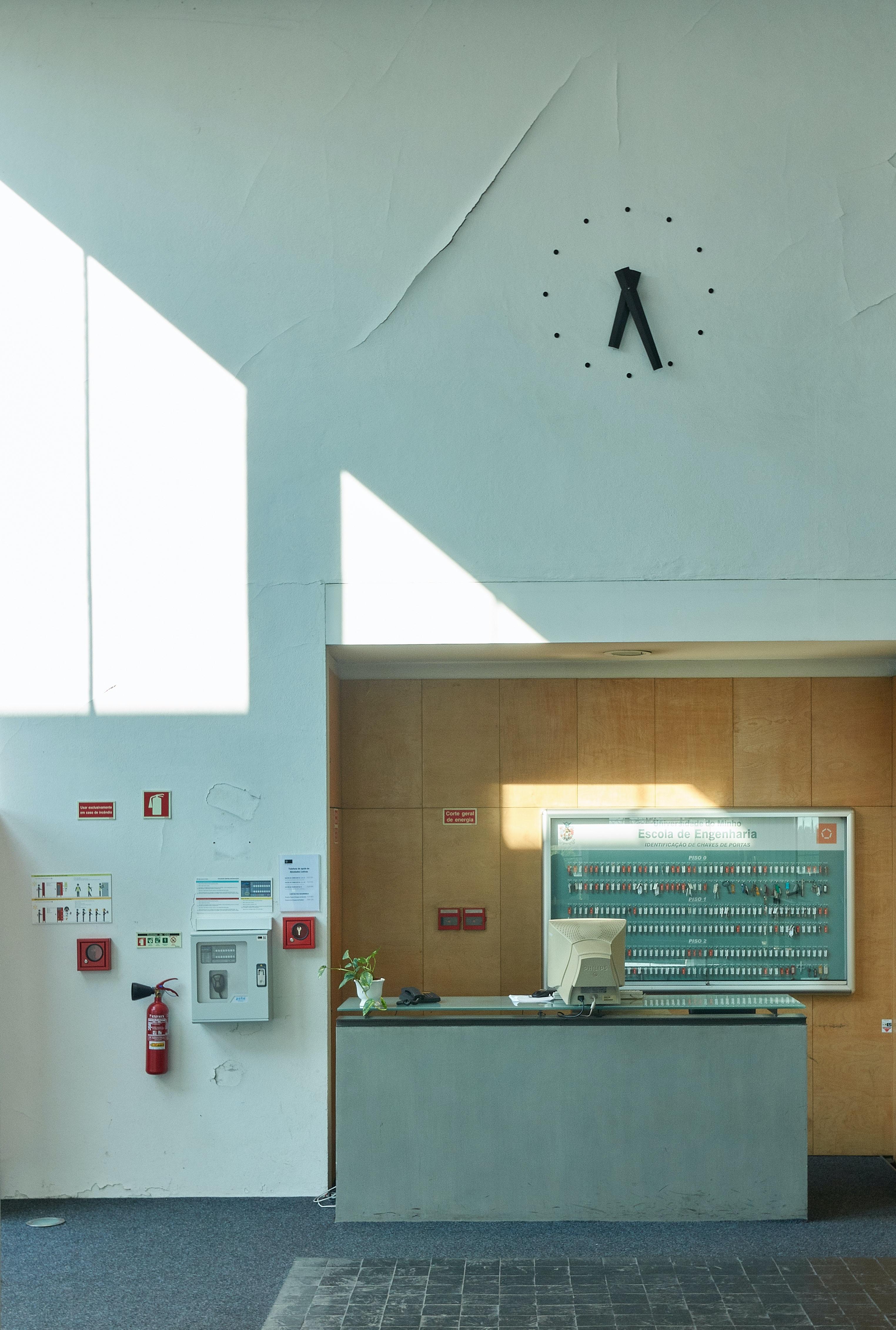black analog wall clock at 6:26 display