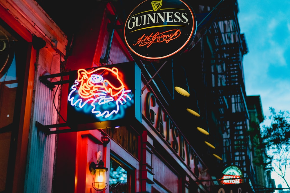 scenery of a Guinnes LED signage