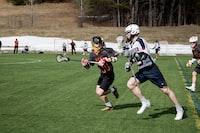 lacrosse players on sports field