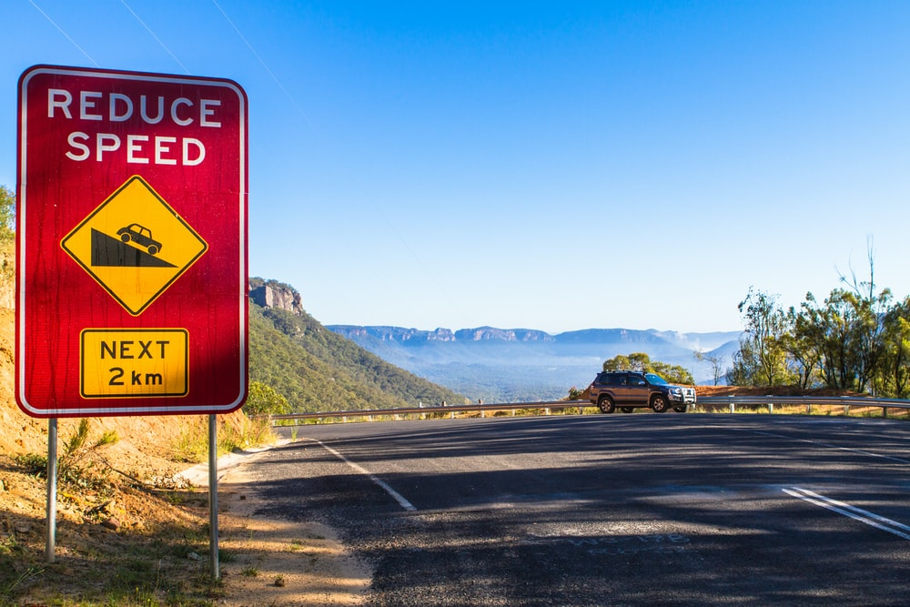Reduce Speed road signage during daytime