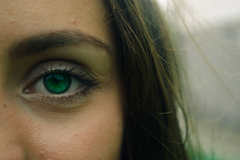 woman showing right eye