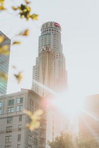 golden hour photography of high-rise building