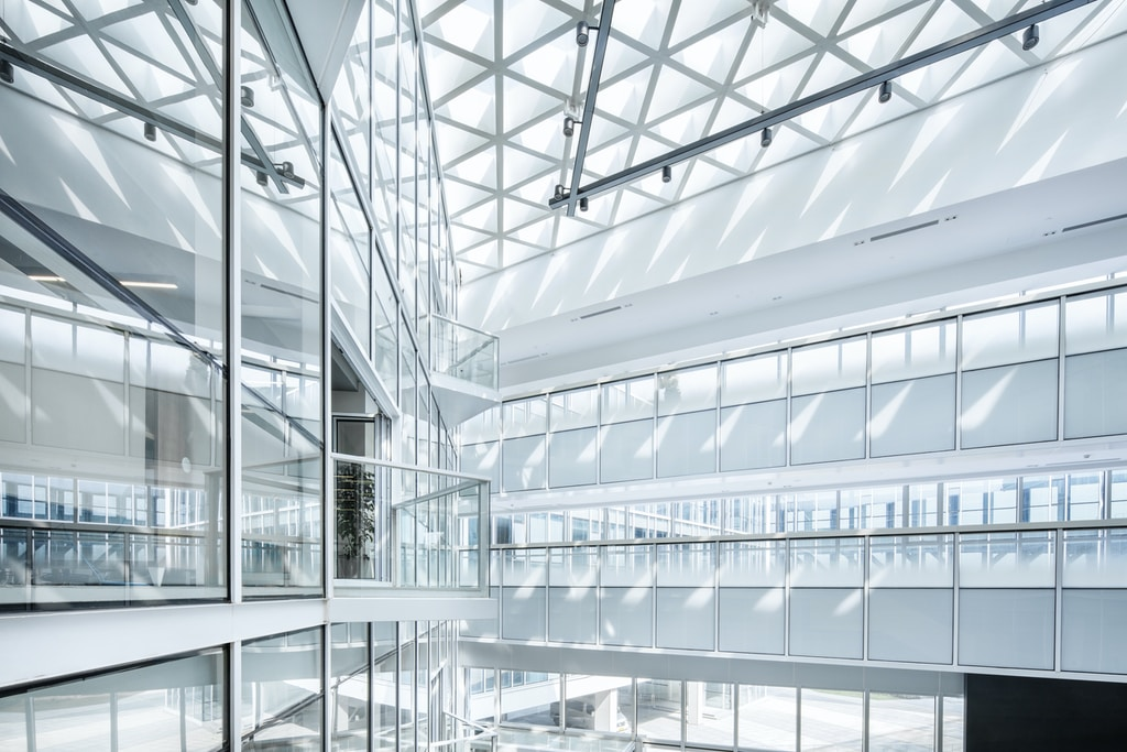 commercial cleaning clear glass building interior during daytime