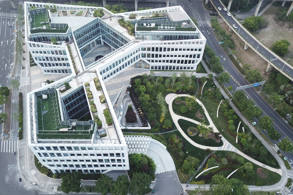 aerial view of white building
