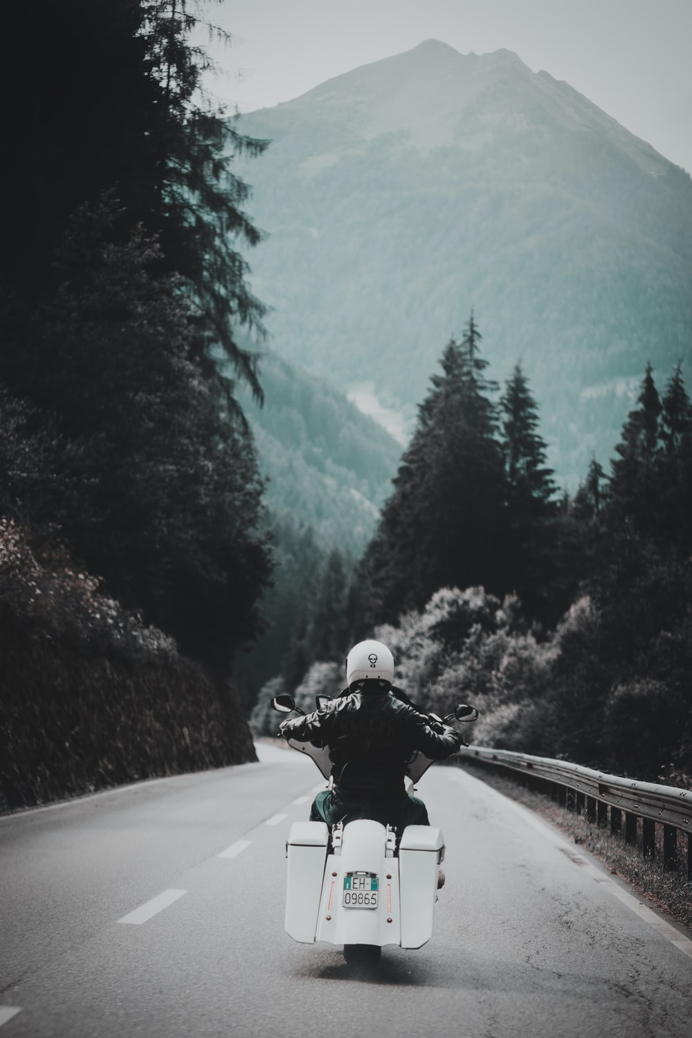 selective focus photography of person riding touring motorcycle on road