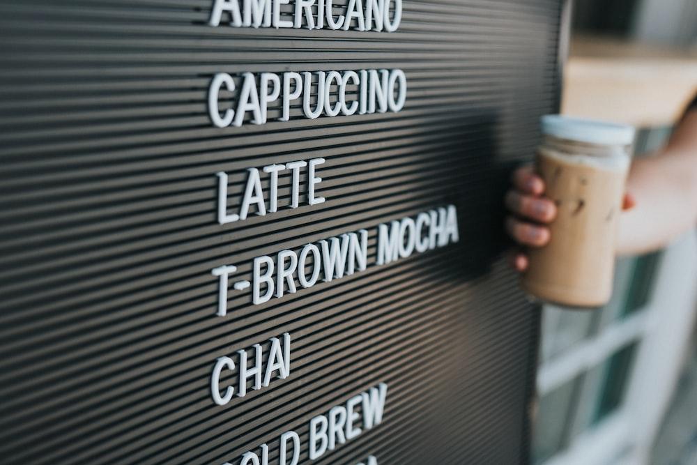 cafe drink menu