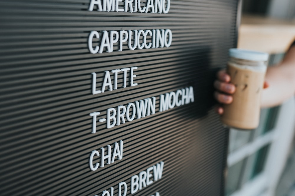 cafe drink menu