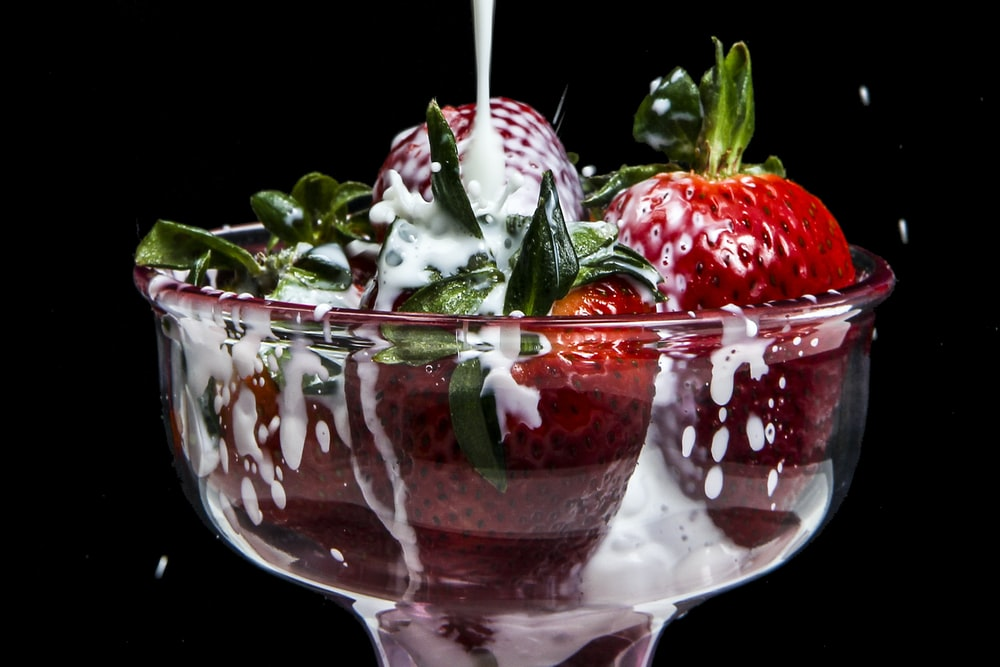 strawberries in parfait glass