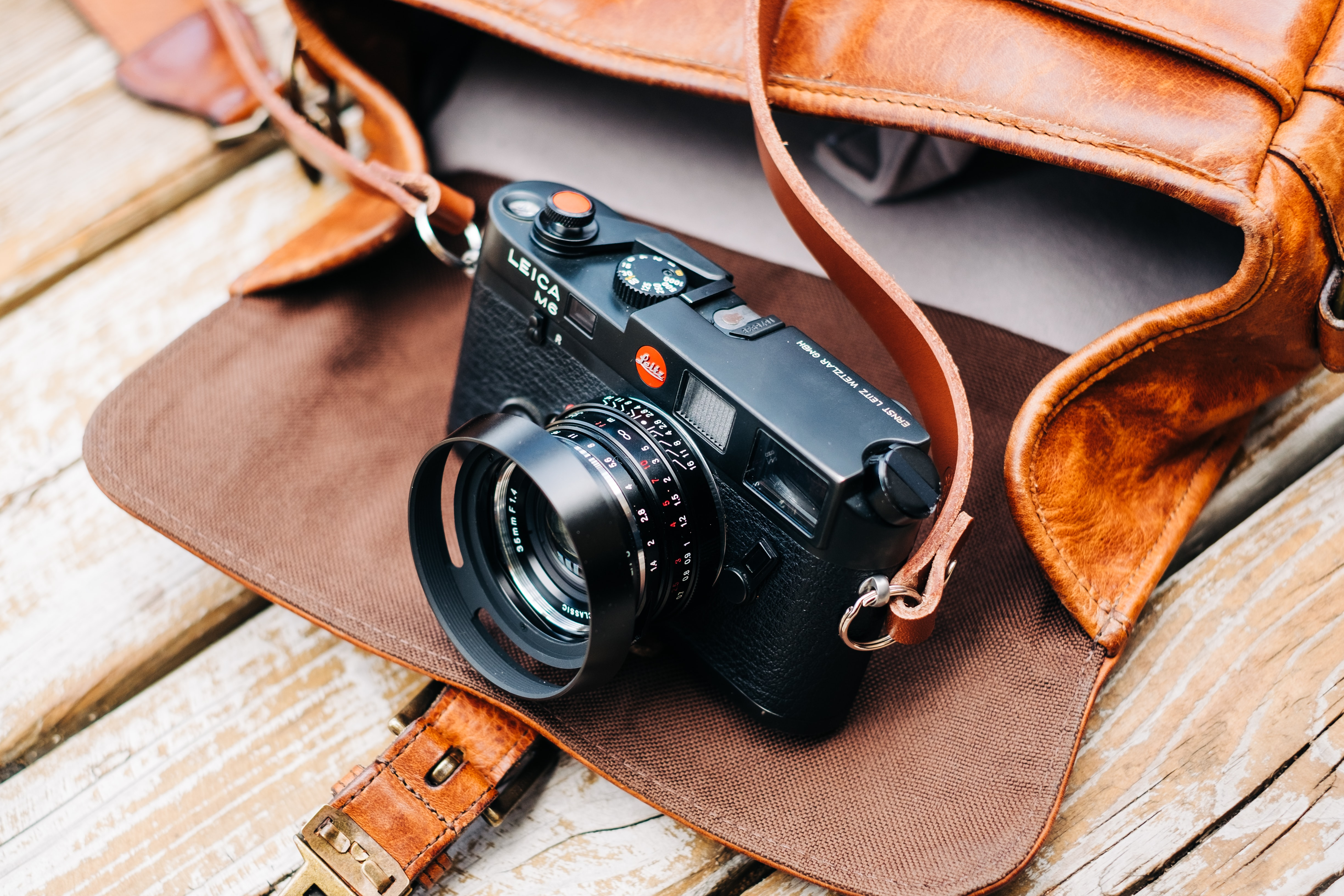 black DSLR camera with brown leather bag on brown surface