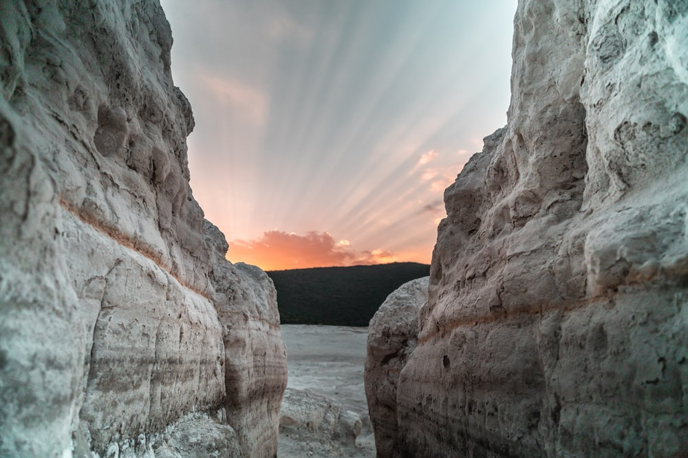 gray rock formation at sunrise