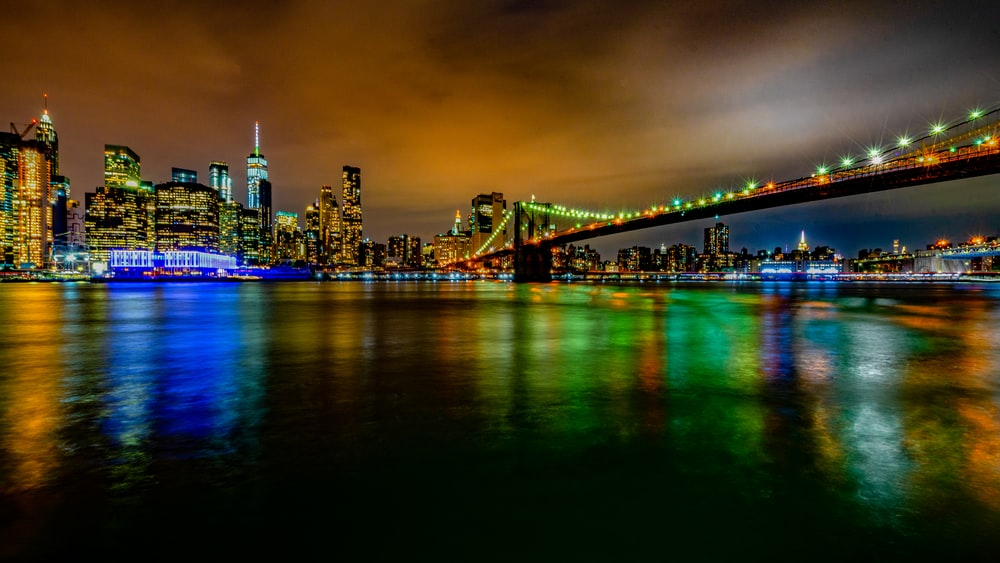 cityscape of lighted building
