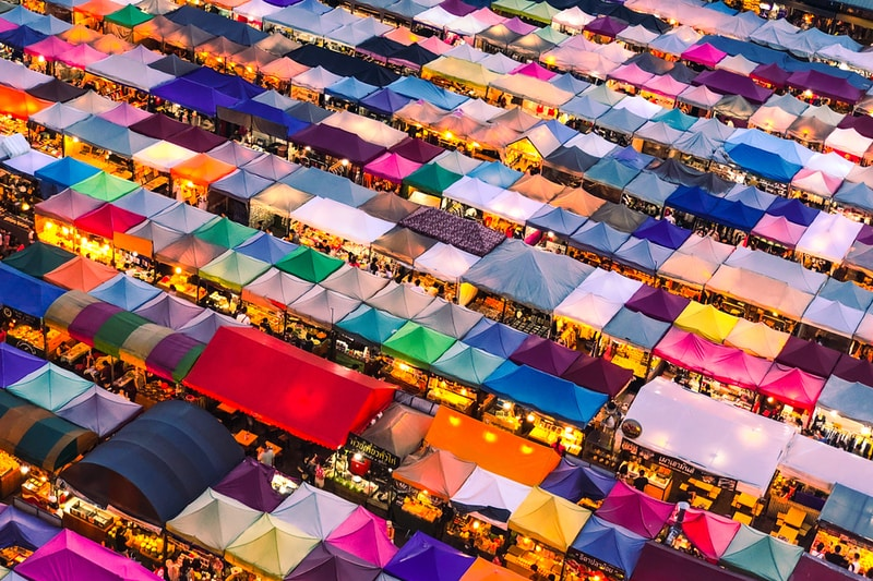 aerial photography of colorful tent