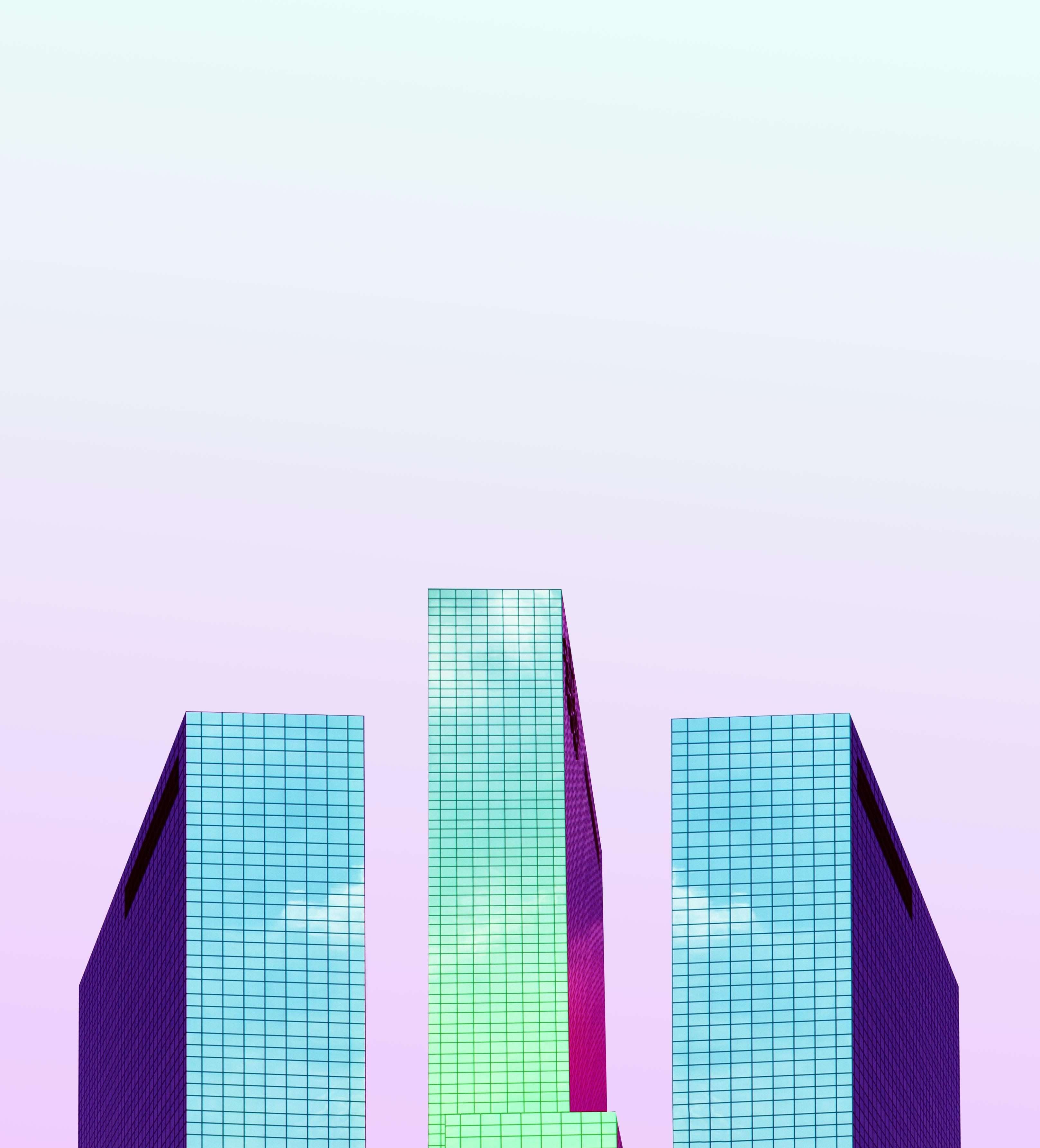 three tall buildings digital wallpaper