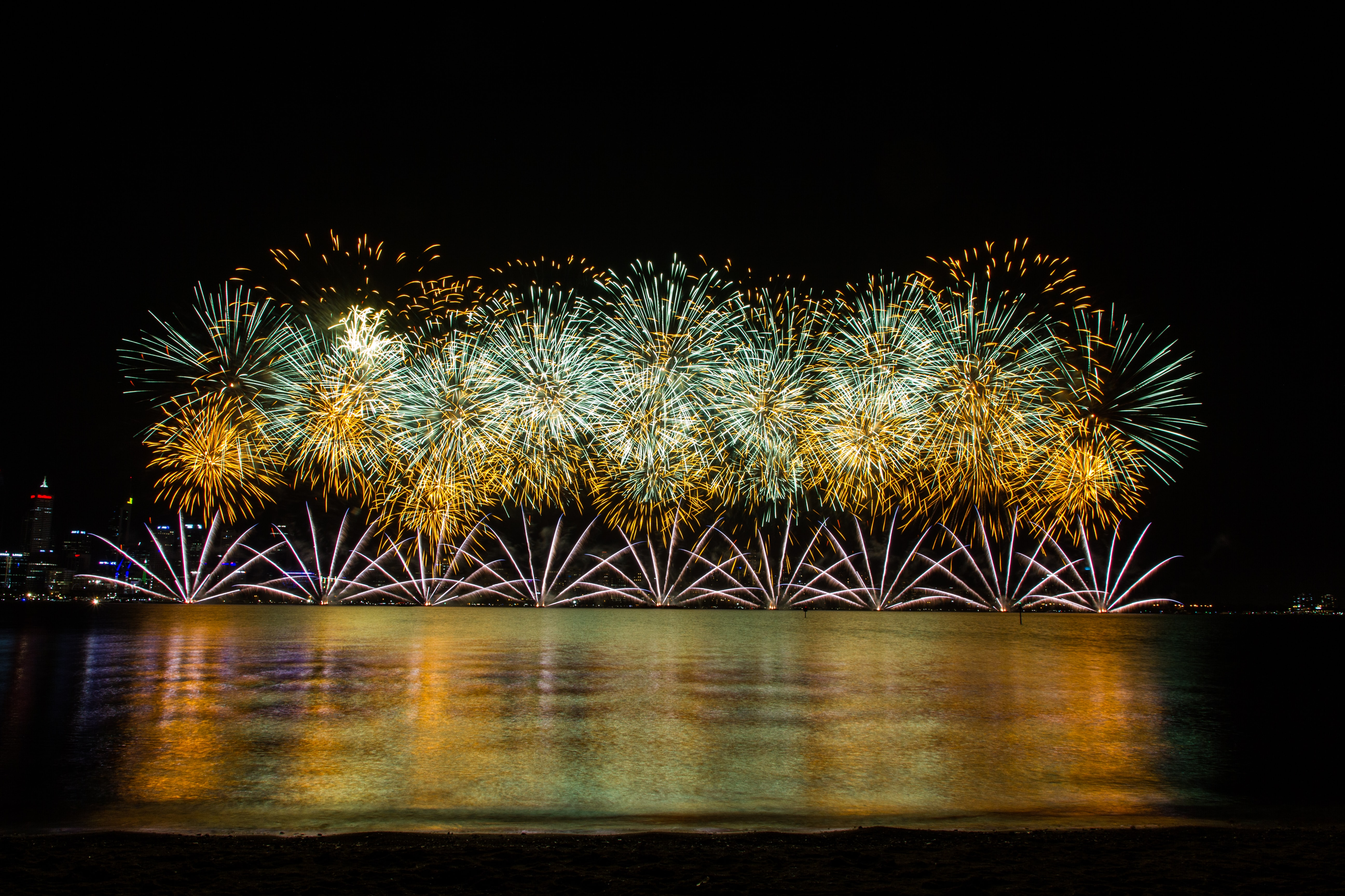 time lapse photography of fireworks