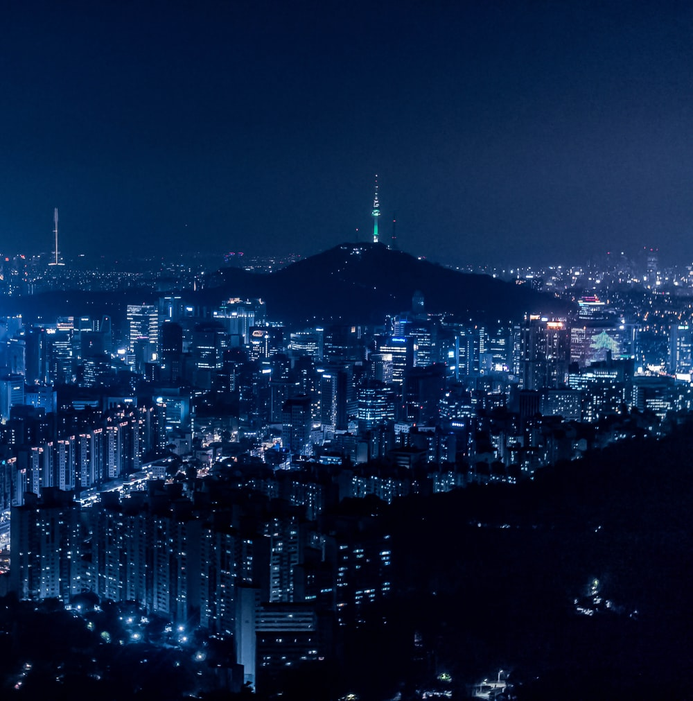 Areal View With City During Nighttime Photo