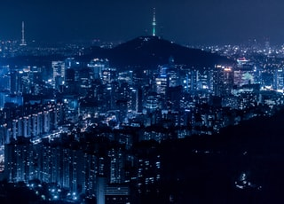 areal view with city during nighttime
