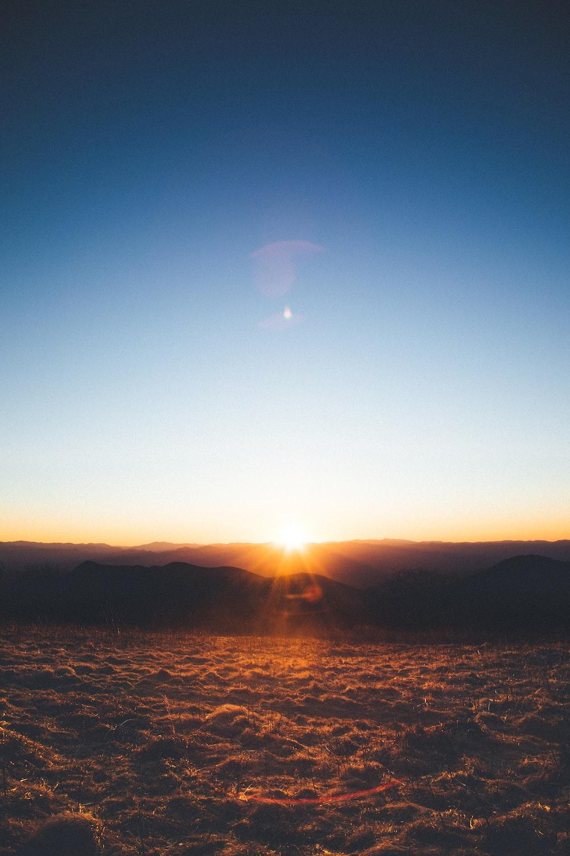 golden hour over mountain range