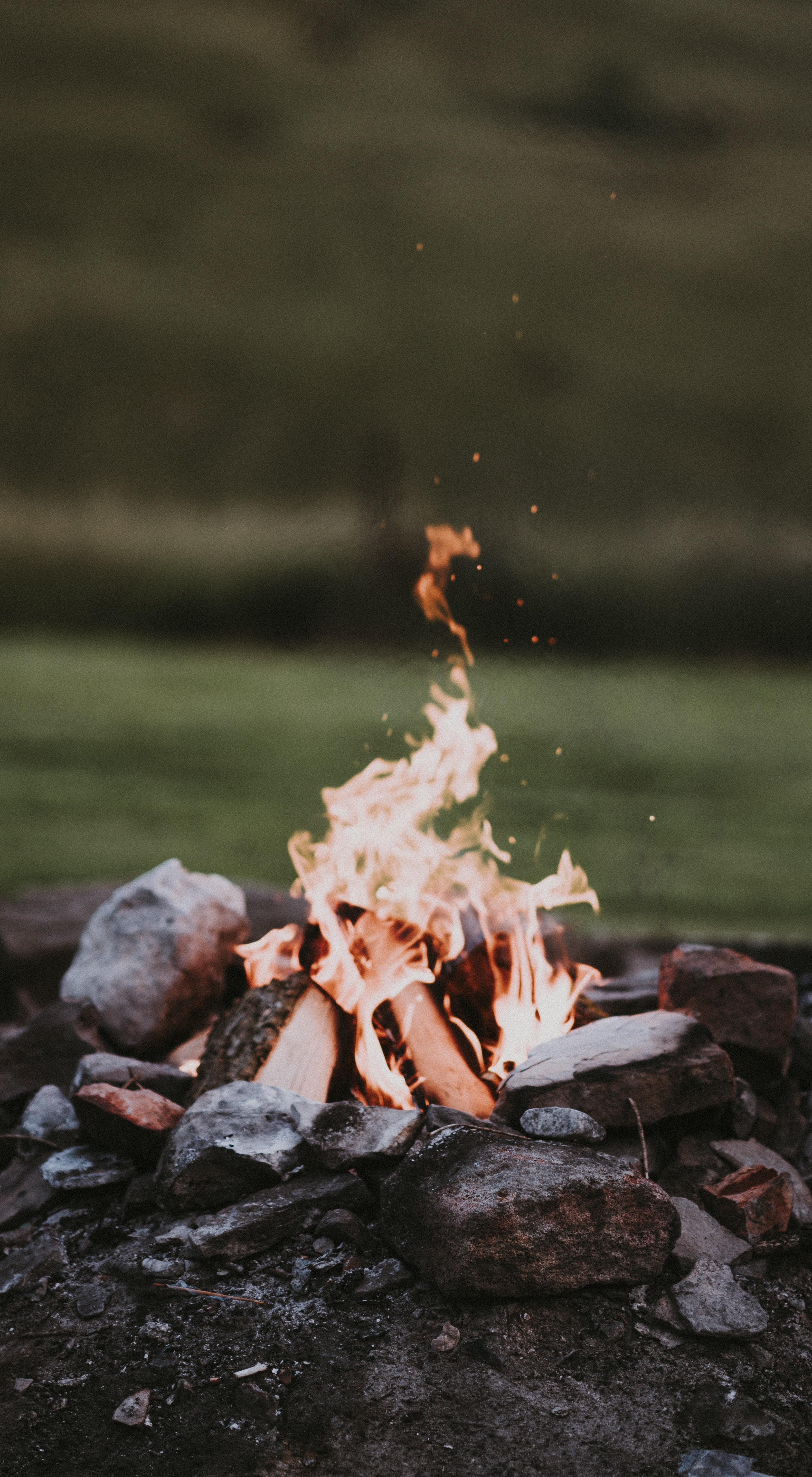 selective focus photography of bonfire