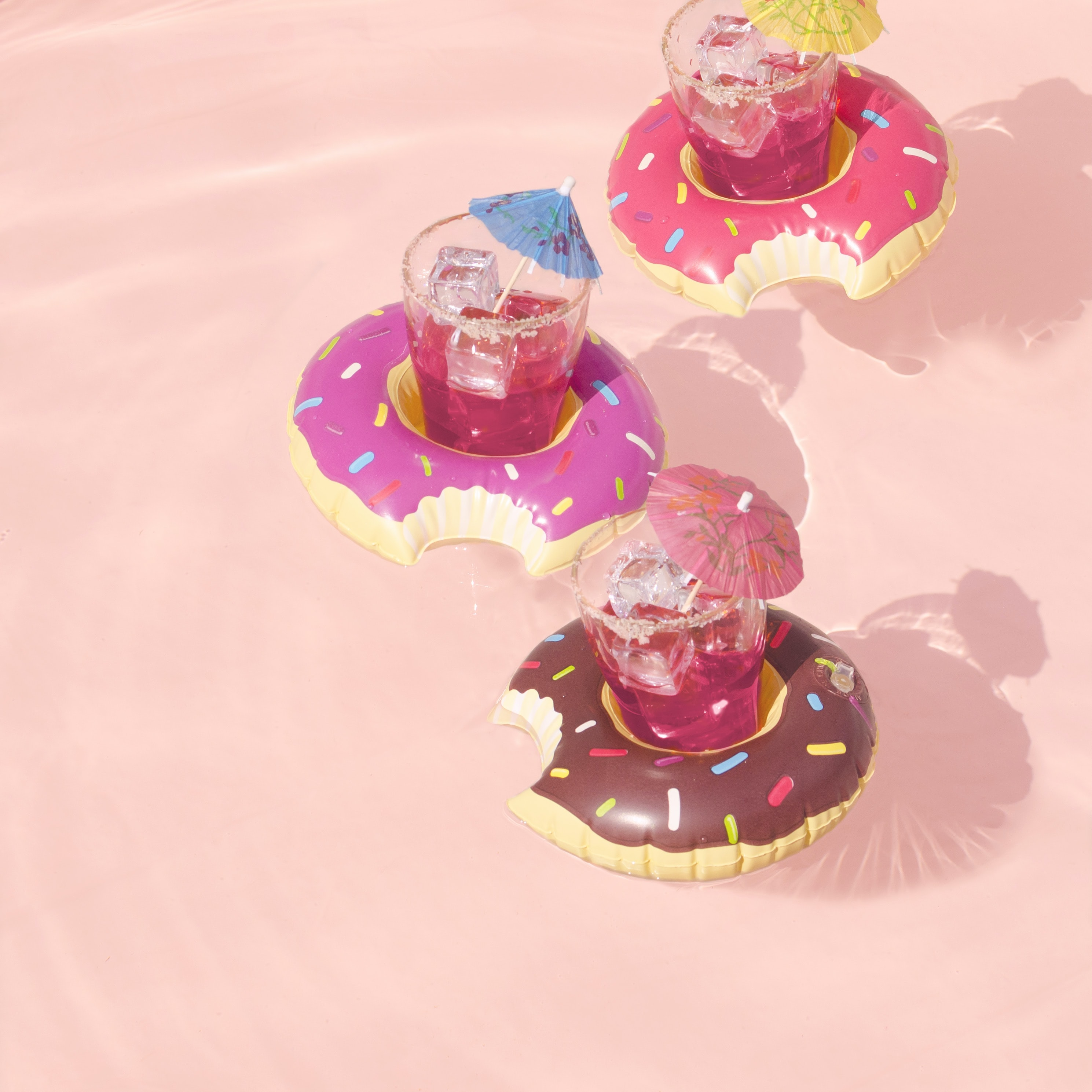 three drinking glasses